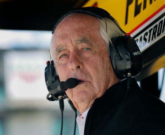 Team Penske owner Roger Penske looks on from the pit box during practice for the Indianapolis 500 at the Indianapolis Motor Speedway on Wednesday, May 15, 2019.