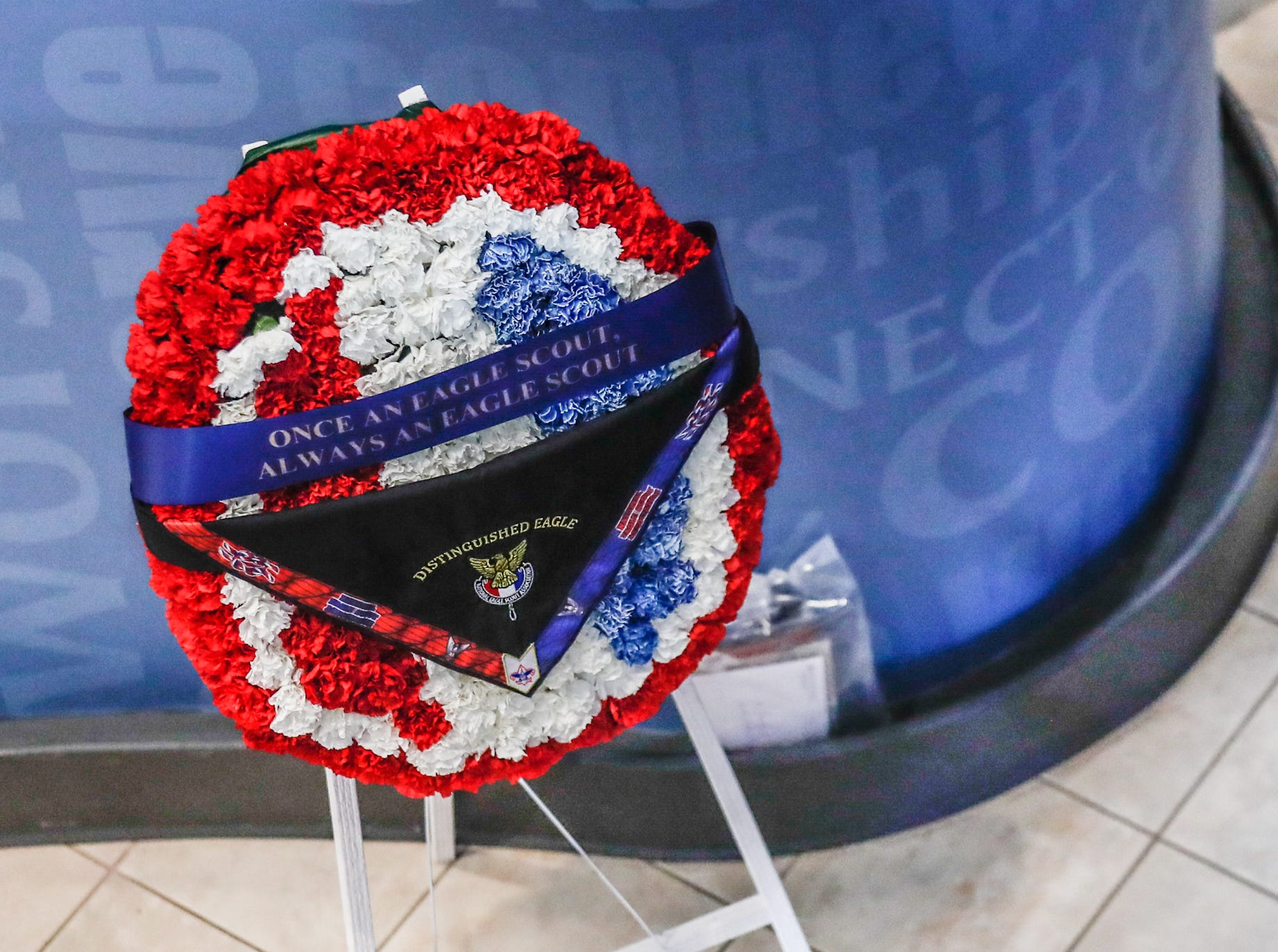 """A flowered wreath reads """"Once an Eagle Scout, always an Eagle Scout"""" at a memorial service held for Eagle Scout and former U.S. Sen. Richard Lugar held at Saint Luke's United Methodist Church in Indianapolis, on Wednesday, May 15, 2019. Lugar served as mayor of Indianapolis from 1968 to 1975 and U.S. senator from 1977 to 2013. He died April 28, 2019, at the age of 87."""