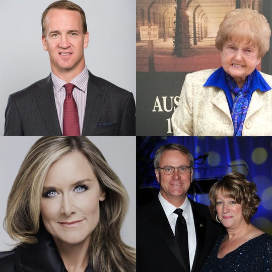 From top left clockwise, Peyton Manning, Eva Kor, Angela Ahrendts, and Dan and Beth Elsener