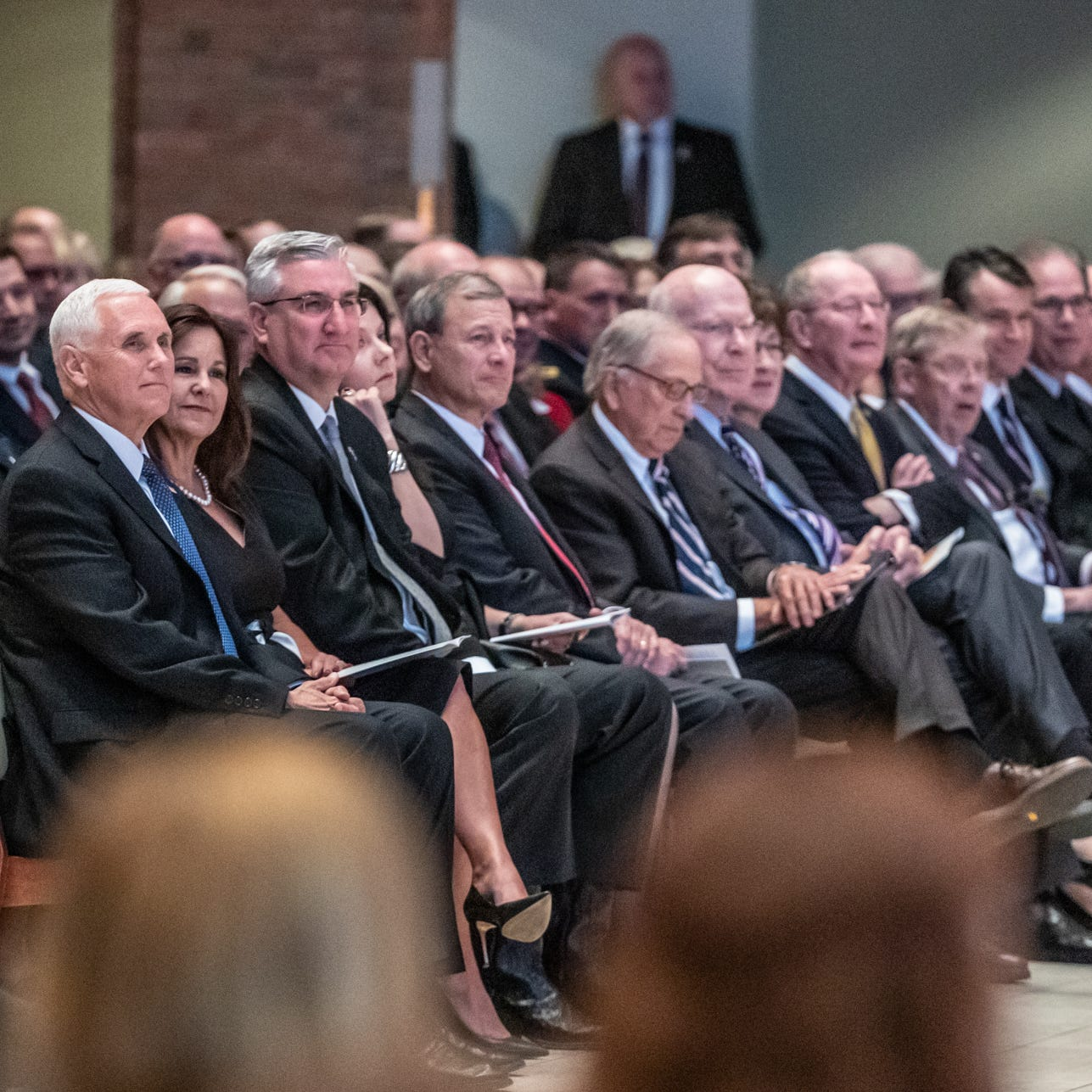 Vice President Mike Pence (from left), his wife Karen Pence, Indiana Gov. Eric Holcomb, and his wife Janet Holcomb and other state and a national officials attend the memorial of former U.S. Sen. Richard Lugar held at Saint Luke's United Methodist Church in Indianapolis, on Wednesday, May 15, 2019. Lugar served as mayor of Indianapolis from 1968 to 1975 and U.S. senator from 1977 to 2013. He died April 28, 2019, at the age of 87.