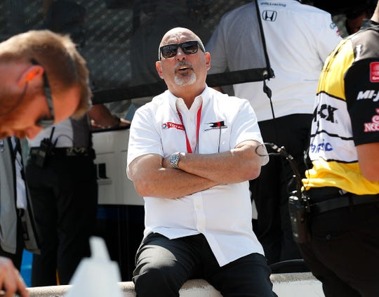 Bobby Rahal, co-owner of Rahal Letterman Lanigan Racing, looks on from pit road during practice for the Indianapolis 500 at the Indianapolis Motor Speedway on Wednesday, May 15, 2019.