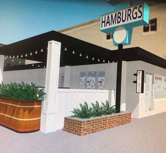 A rendering shows the fresh paint, restored planters and a new patio at Peppy Grill. The Fountain Square restaurant, 1004 Virginia Ave., is scheduled to reopen in spring 2019 following renovations.