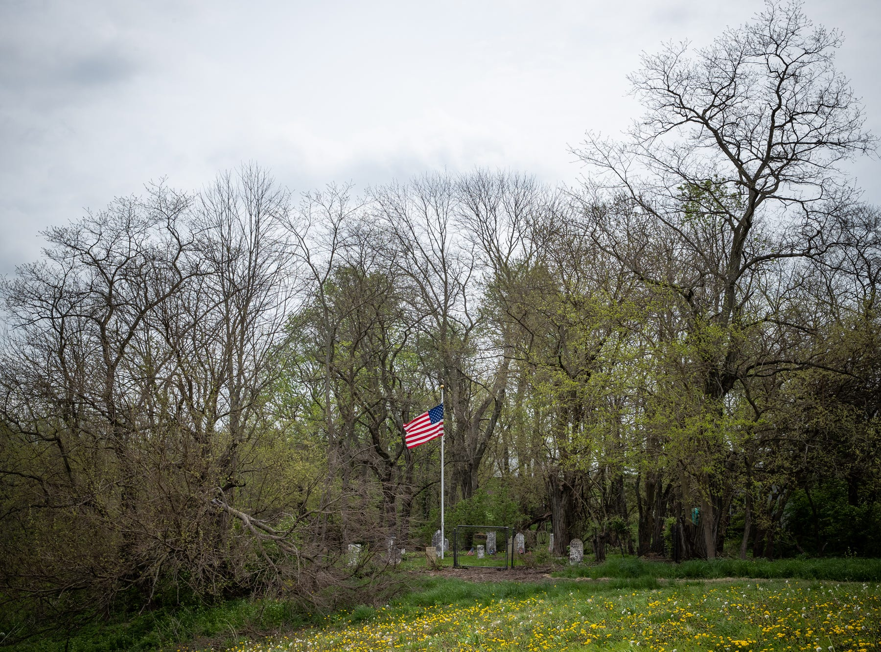 The Rubush-Joyce or Sampson Cemetery, located in southern Marion County on Wednesday, May 1, 2019. The plot of land where the cemetery sits was settled by Alexander Joyce in the 1830s. Family members from multiple families are buried in the site, including Joyce.