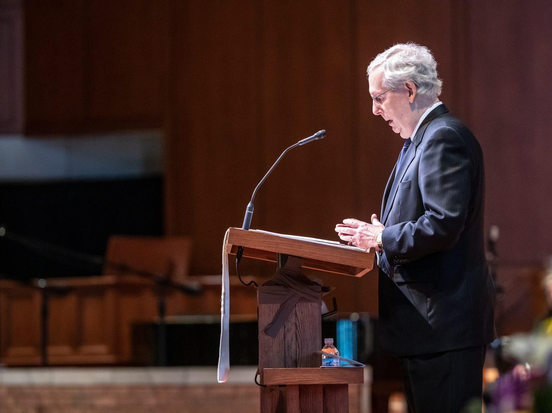 U.S. Sen. Mitch McConnell pays tribute to former U.S. Sen. Richard Lugar during a memorial service at Saint Luke's United Methodist Church in Indianapolis, on Wednesday, May 15, 2019. Lugar served as mayor of Indianapolis from 1968 to 1975 and U.S. senator from 1977 to 2013. He died April 28, 2019, at the age of 87.