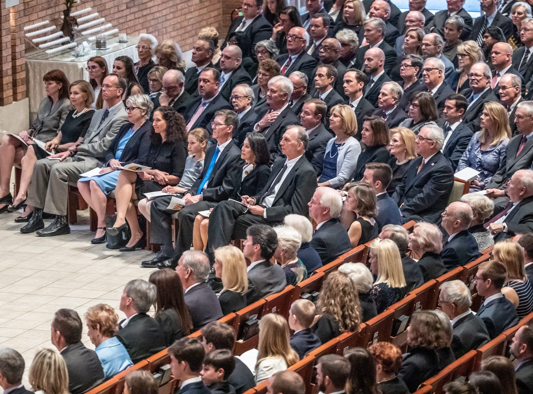 Guests pay tribute to former U.S. Sen. Richard Lugar during a memorial service held at Saint Luke's United Methodist Church in Indianapolis, on Wednesday, May 15, 2019. Lugar served as mayor of Indianapolis from 1968 to 1975 and U.S. senator from 1977 to 2013. He died April 28, 2019, at the age of 87.