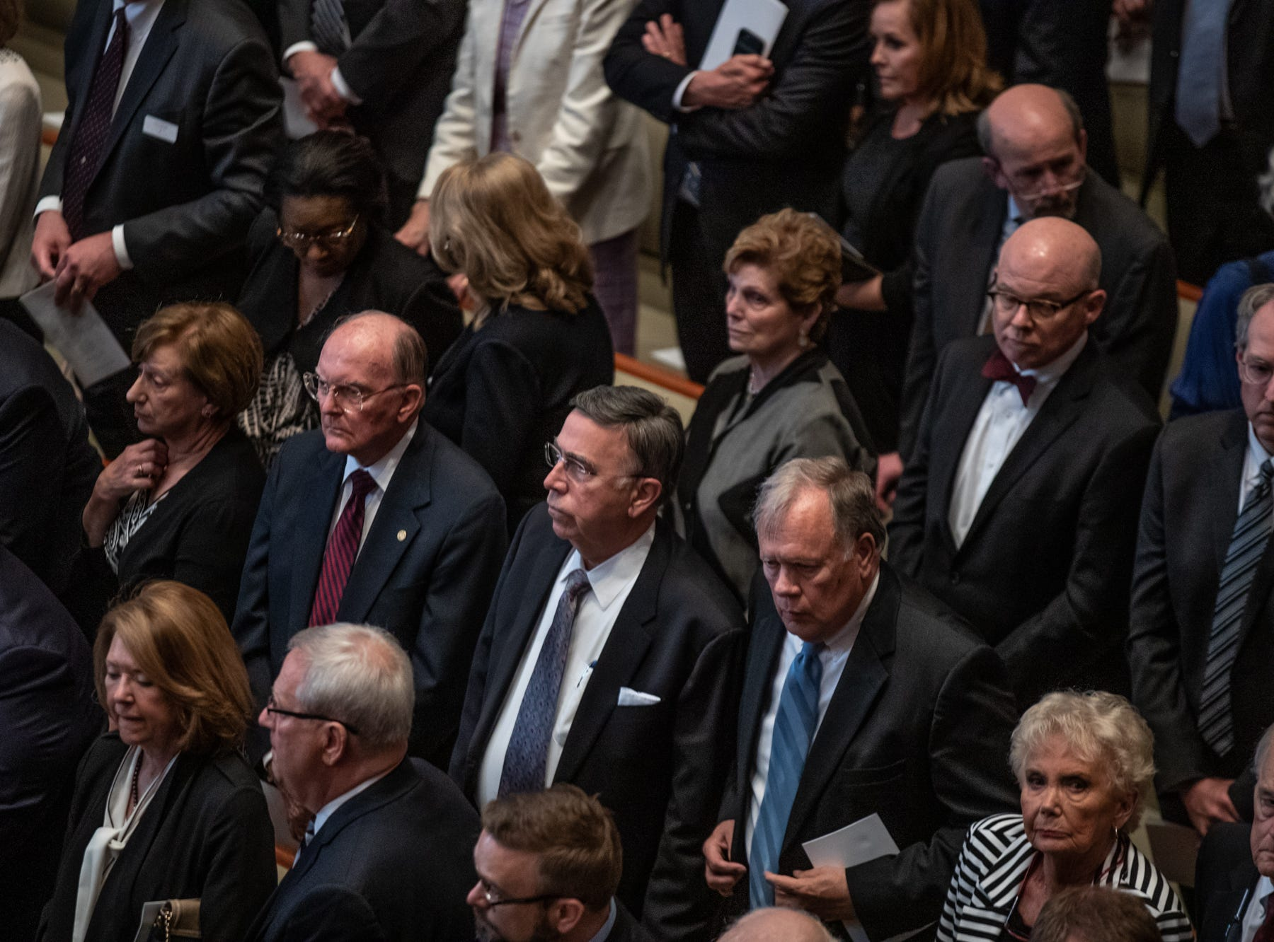 Political figures, former media, family and friends pay tribute to former U.S. Sen. Richard Lugar during a memorial service held at Saint Luke's United Methodist Church in Indianapolis, on Wednesday, May 15, 2019. Lugar served as mayor of Indianapolis from 1968 to 1975 and U.S. senator from 1977 to 2013. He died April 28, 2019, at the age of 87.