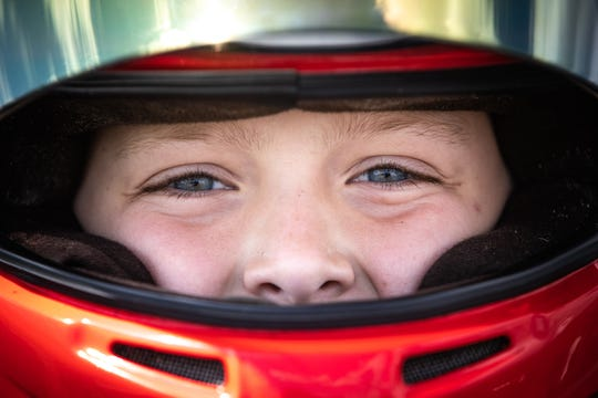 Elliot Cox, 11, finishes a practice run at Whiteland Raceway Park in Whiteland, Ind., on May 15, 2019.
