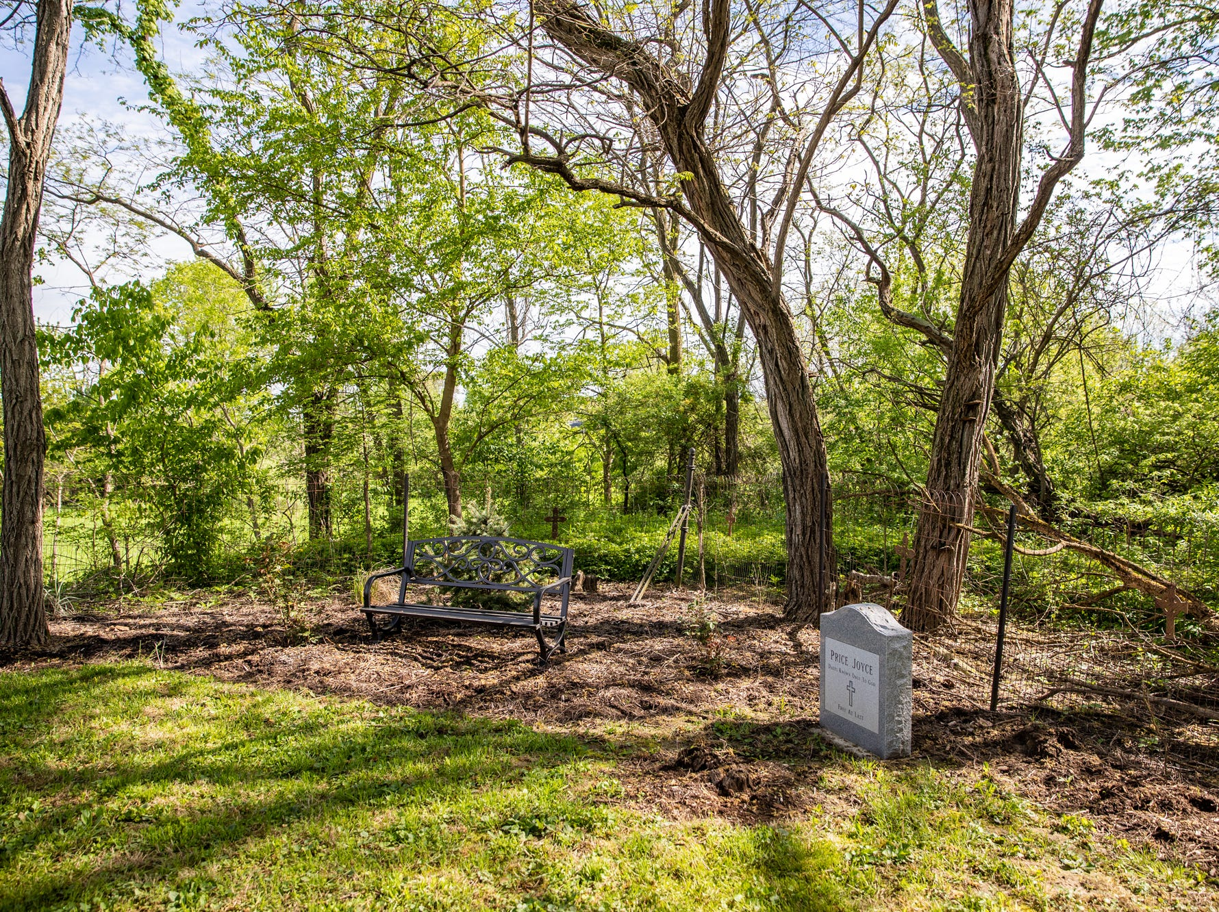 The grave of Price Joyce, a slave once owned by Jeff Purvis' great-great-great-grandfather, Alexander Joyce II, on Saturday, May 11, 2019.