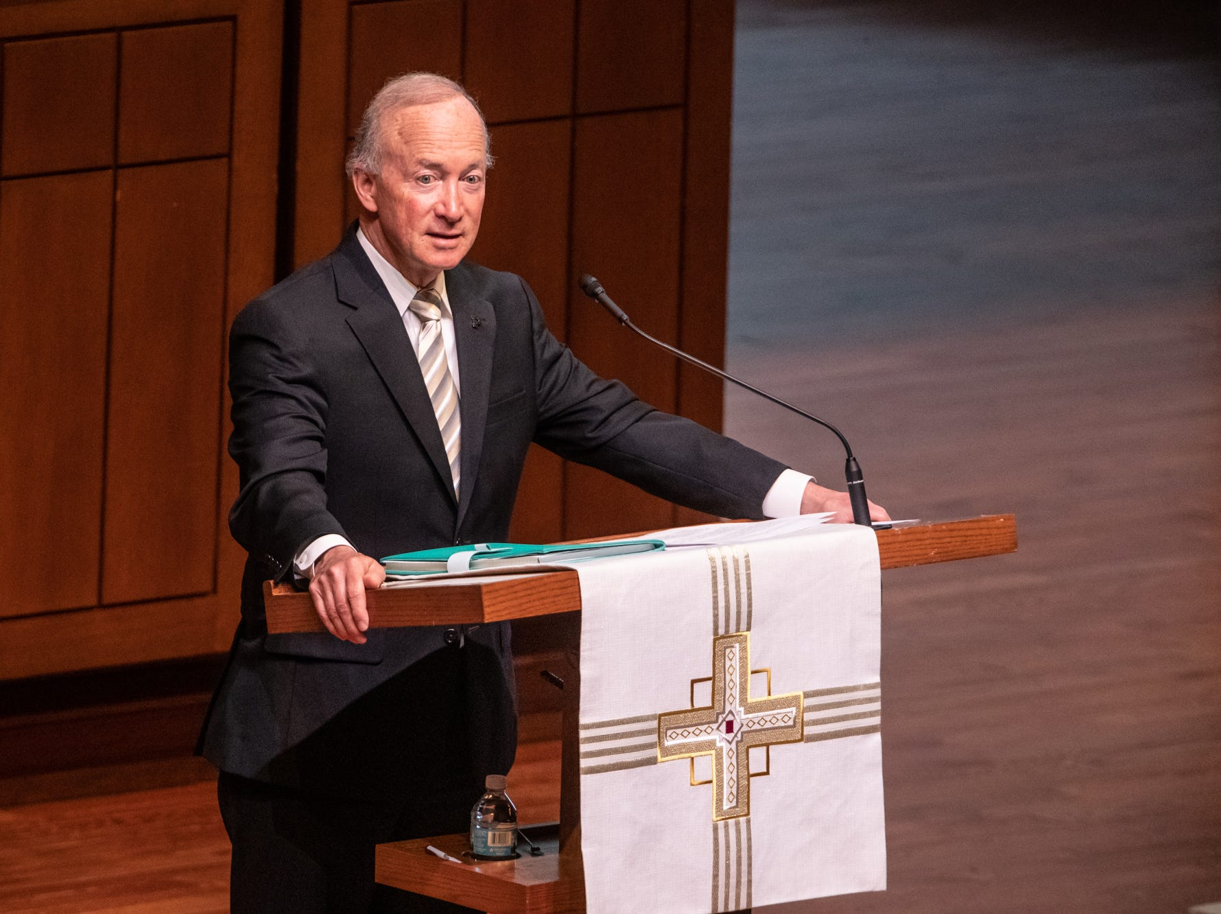 Former Indiana Gov. Mitch Daniels speaks during a memorial service for former U.S. Sen. Richard Lugar during a memorial service held at Saint Luke's United Methodist Church in Indianapolis, on Wednesday, May 15, 2019. Lugar served as mayor of Indianapolis from 1968 to 1975 and U.S. senator from 1977 to 2013. He died April 28, 2019, at the age of 87.