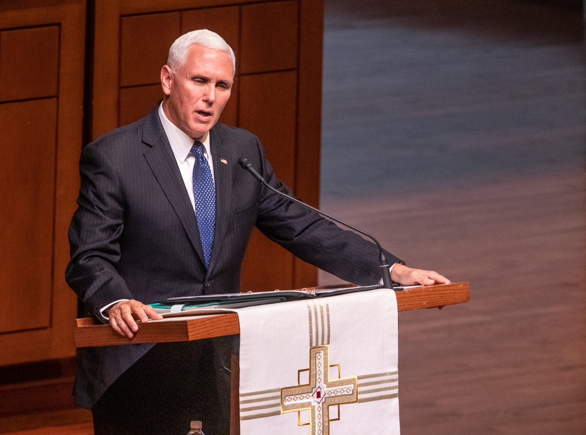 Vice President Mike Pence speaks during a memorial service for former U.S. Sen. Richard Lugar, during a memorial service held at Saint Luke's United Methodist Church in Indianapolis, on Wednesday, May 15, 2019. Lugar served as mayor of Indianapolis from 1968 to 1975 and U.S. senator from 1977 to 2013. He died April 28, 2019, at the age of 87.