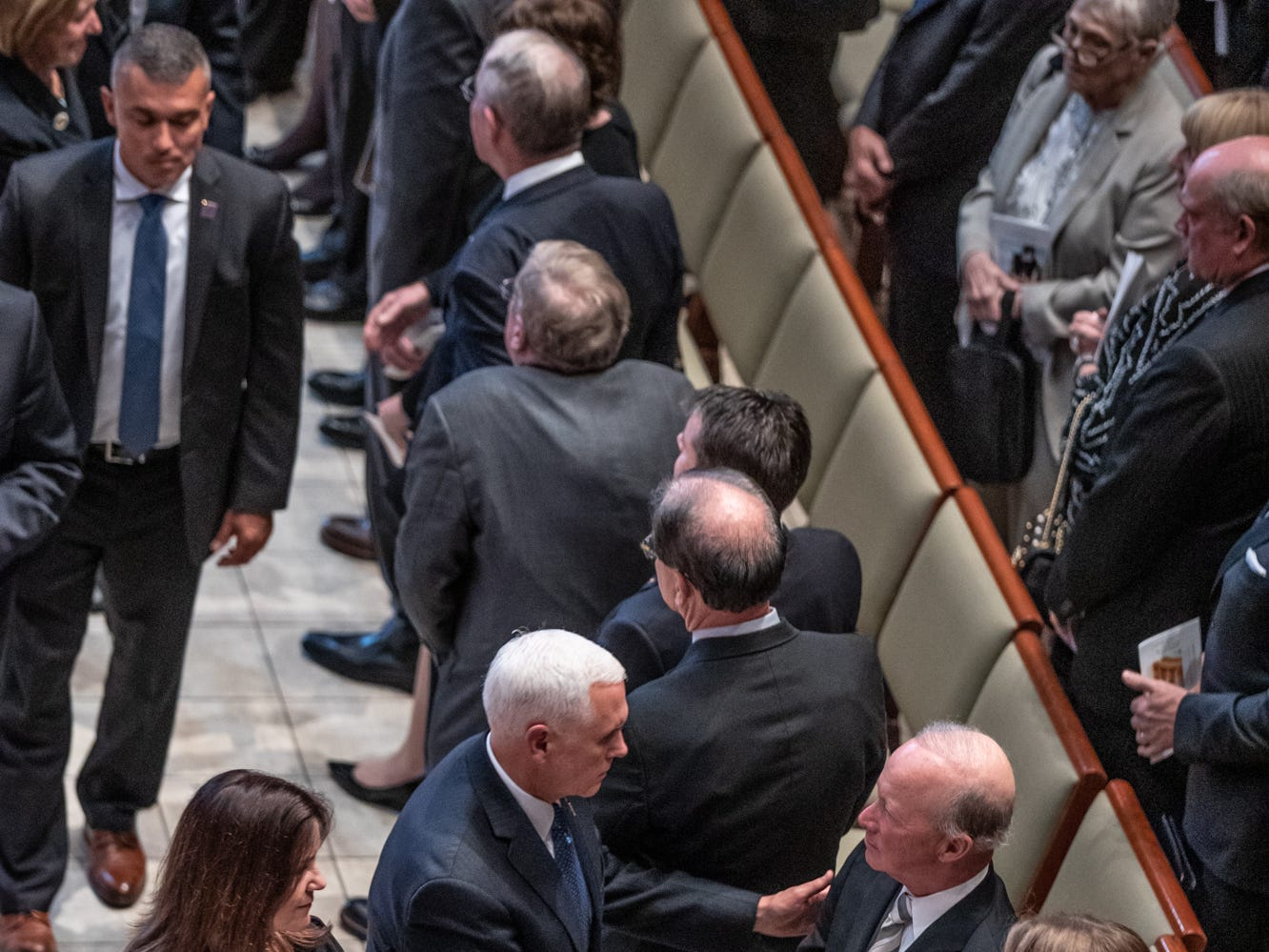 Vice President Mike Pence, shakes hands with former Indiana Gov/ Mitch Daniels after a memorial service for former U.S. Sen. Richard Lugar, during a memorial service held at Saint Luke's United Methodist Church in Indianapolis, on Wednesday, May 15, 2019. Lugar served as mayor of Indianapolis from 1968 to 1975 and U.S. senator from 1977 to 2013. He died April 28, 2019, at the age of 87.