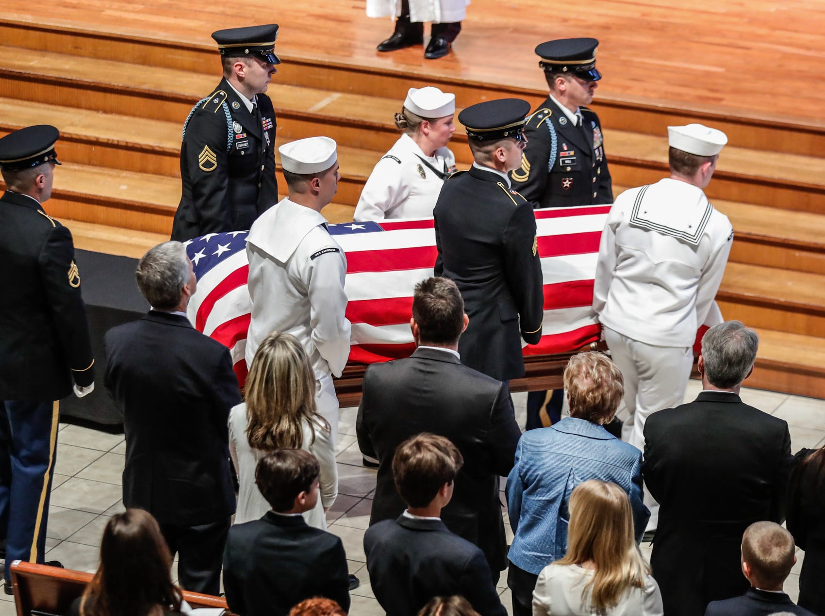 The casket of former U.S. Sen. Richard Lugar is carried into Saint Luke's United Methodist Church in Indianapolis, on Wednesday, May 15, 2019. Lugar served as mayor of Indianapolis from 1968 to 1975 and U.S. senator from 1977 to 2013. He died April 28, 2019, at the age of 87.