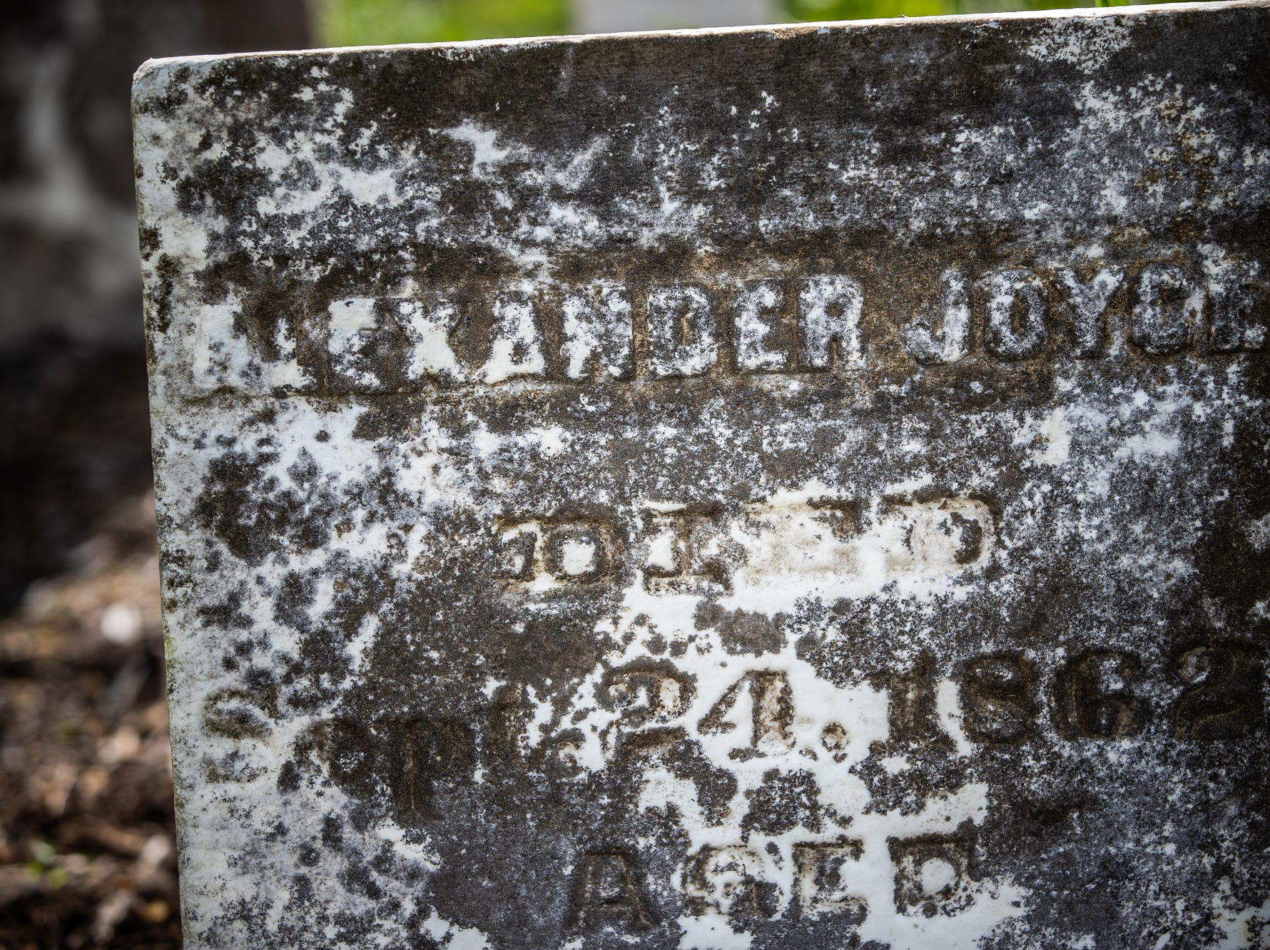 The grave of Alexander Joyce II on Saturday, May 11, 2019.