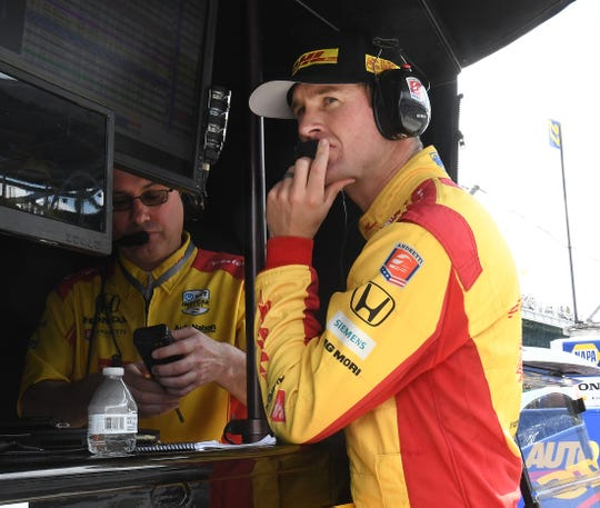 Ryan Hunter-Reay (28) of Andretti Autosport during practice for the Indianapolis 500 at the Indianapolis Motor Speedway on Wednesday, May 15, 2019.