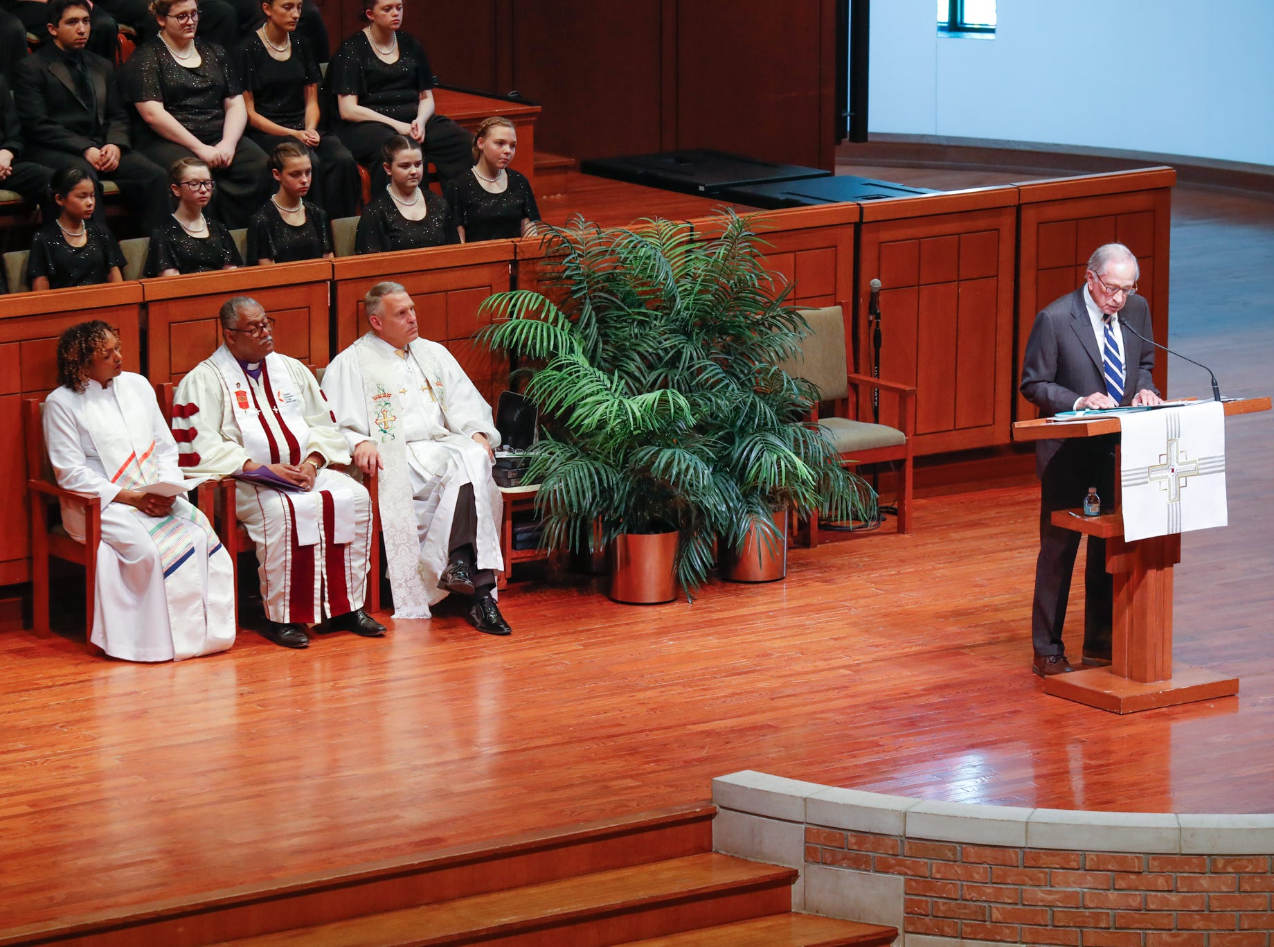 Sam Nunn, the former U.S. senator from Georgia and co-chair of the Nuclear Threat Initiative, pays tribute to former U.S. Sen. Richard Lugar, during a memorial service held at Saint Luke's United Methodist Church in Indianapolis, on Wednesday, May 15, 2019. Lugar served as mayor of Indianapolis from 1968 to 1975 and U.S. senator from 1977 to 2013. He died April 28, 2019, at the age of 87.