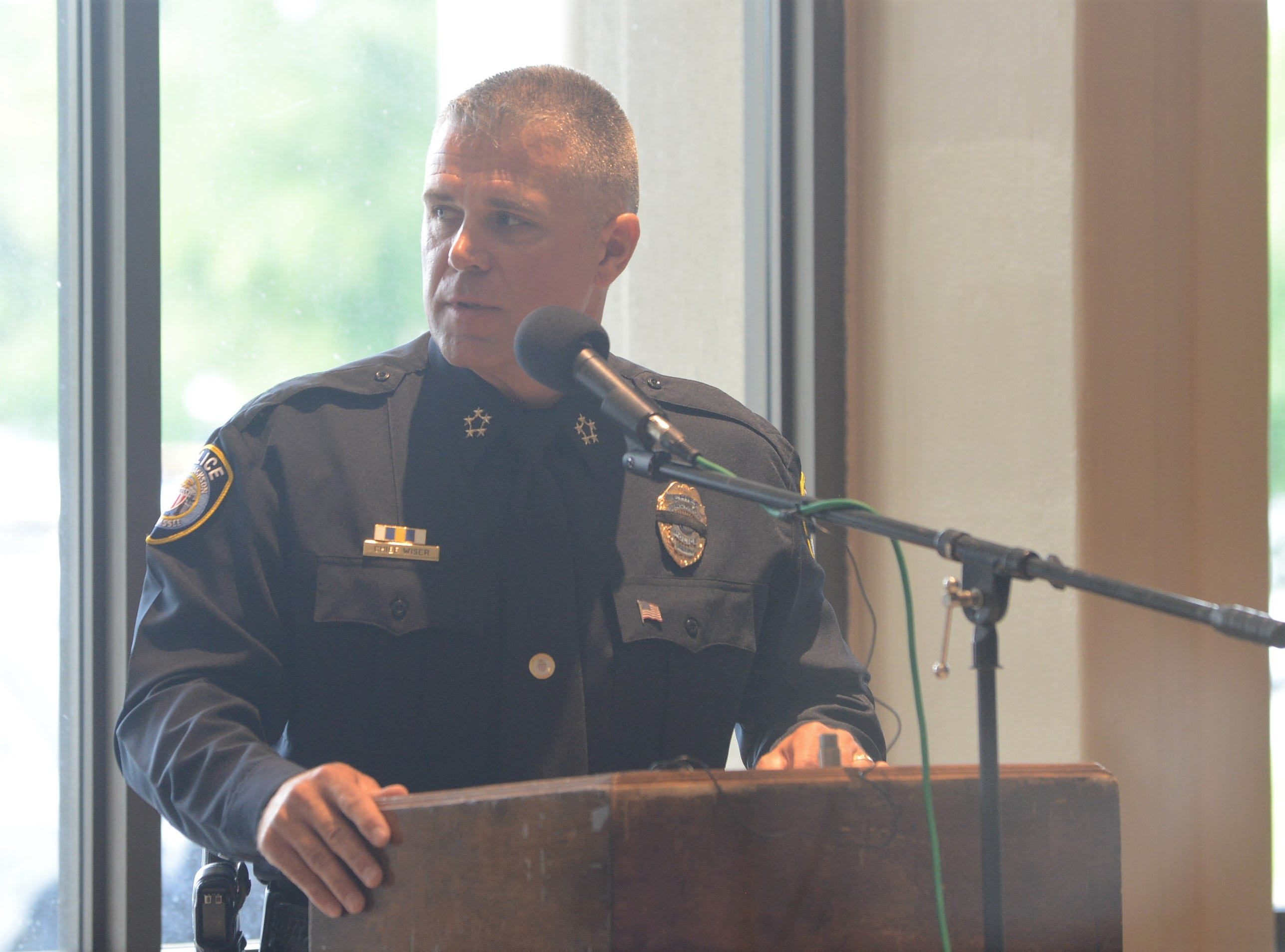 Jackson Police Chief Julien Wiser speaks at the National Law Enforcement Memorial Service at the Carl Perkins Civic Center in Jackson on Wednesday, May 15, 2019.