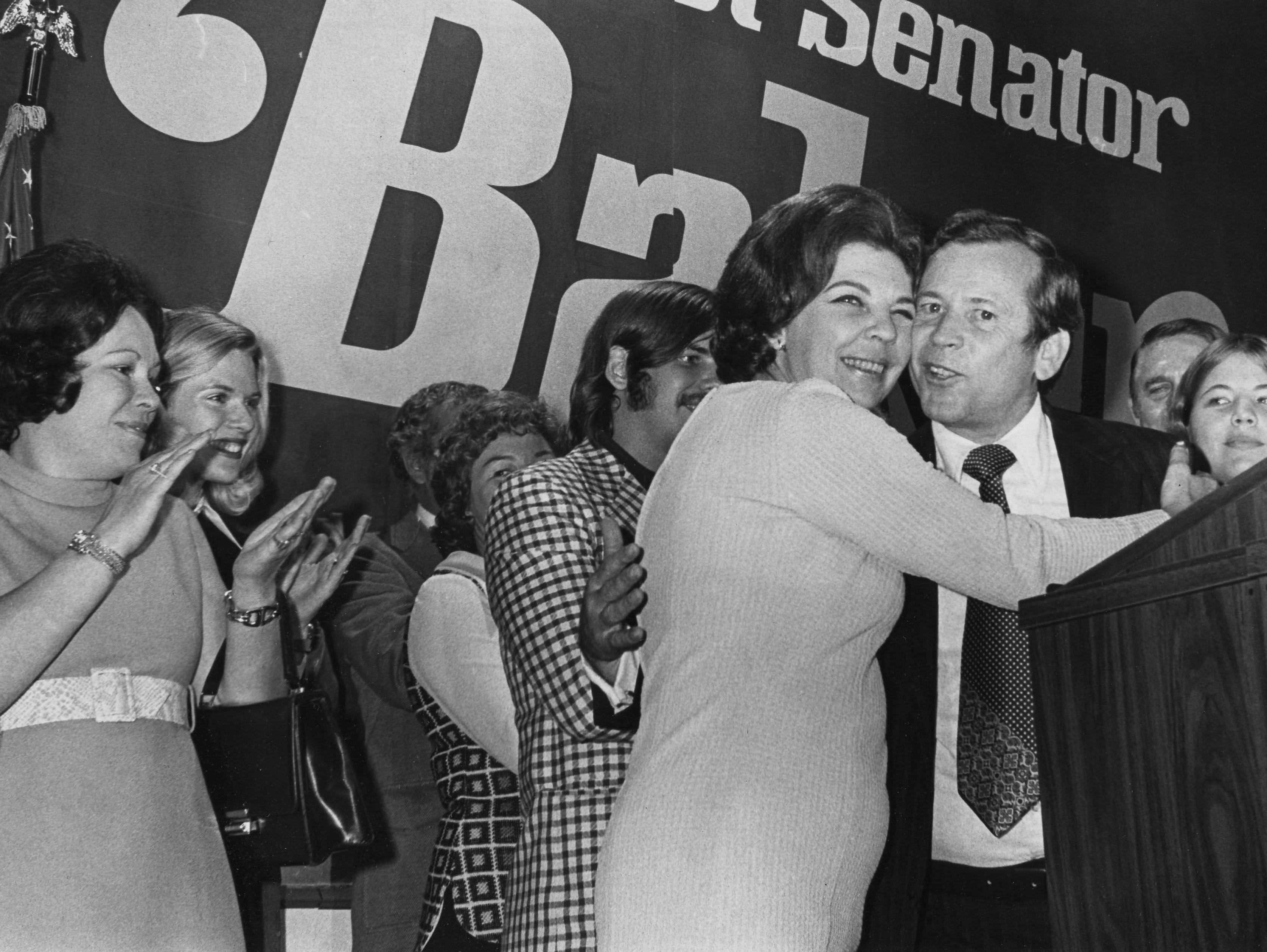 U.S. Sen. Howard H. Baker Jr. and his wife, Joy, celebrate his election to a second term Nov. 7, 1972, at the Hyatt Regency. Baker defeated U.S. Rep. Ray Blanton in a landslide. Closest to the Bakers are their son, Darek, left, and daughter Cynthia, right.