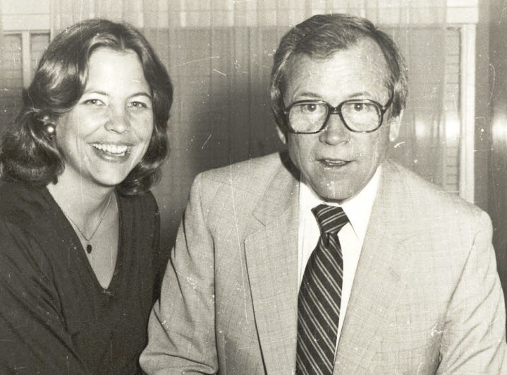 Cissy Baker helps her father, U.S. Sen. Howard H. Baker Jr., celebrate a birthday in the 1970s.