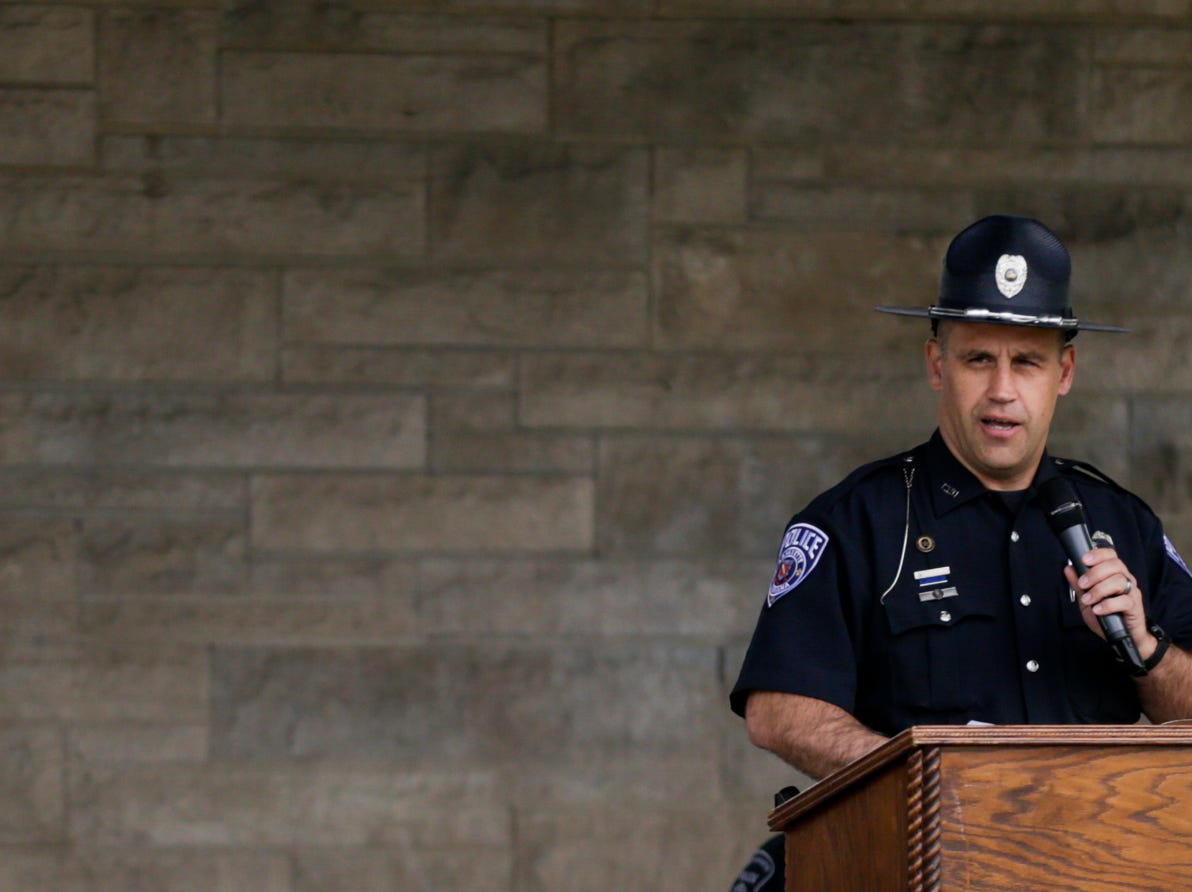 Officer Scott Swick, Lafayette Police Department and FOP president, speaks during the annual police memorial, Wednesday, May 15, 2019, at Columbian Park in Lafayette.