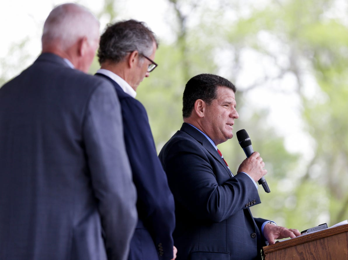 Lafayette Mayor Tony Roswarski speaks during the annual police memorial, Wednesday, May 15, 2019, at Columbian Park in Lafayette.