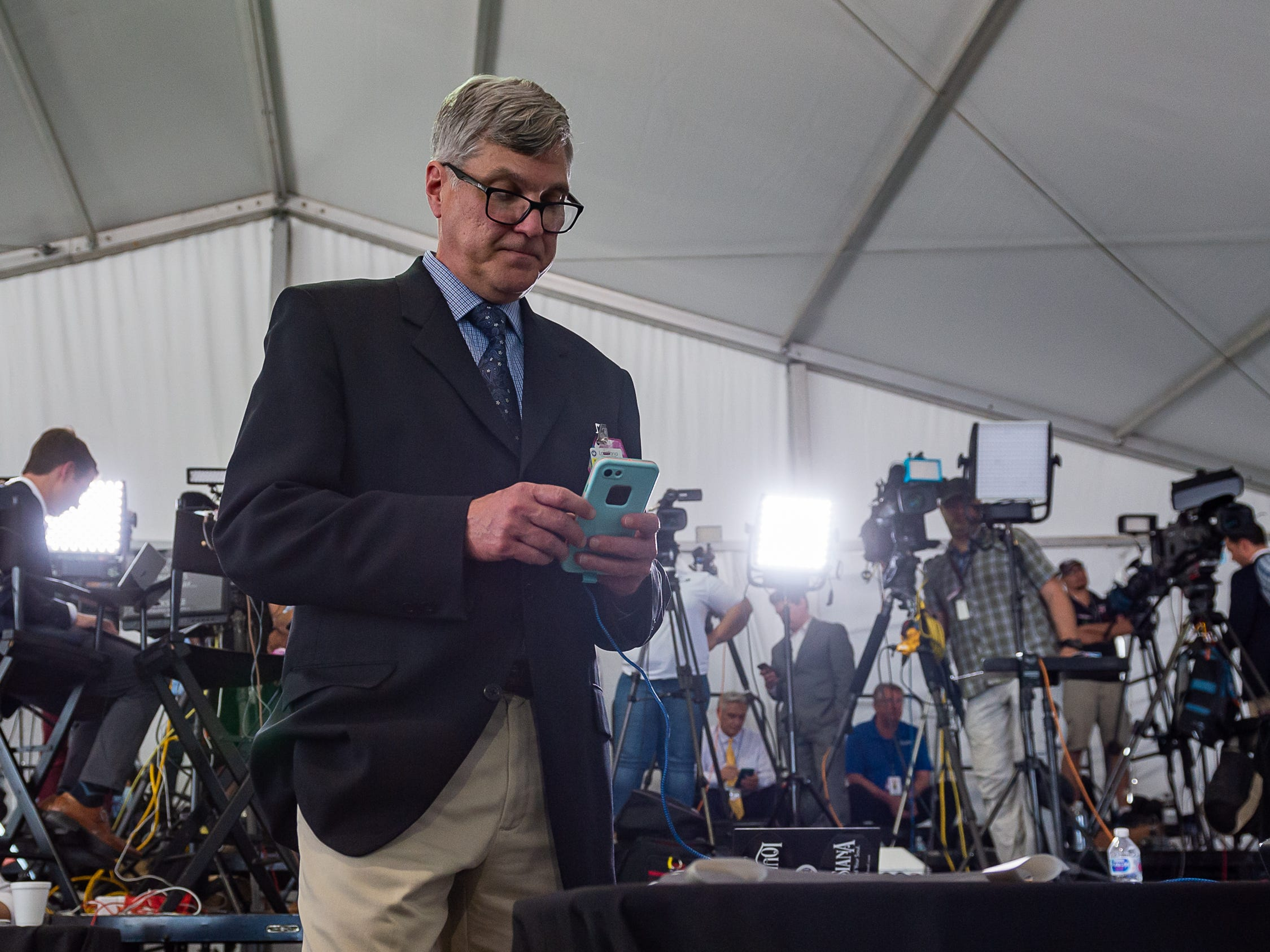 Greg Hilburn on asignment as President Donald Trump speaking at Cameron LNG Export Terminal in Hackberry, LA. Tuesday, May 14, 2019.