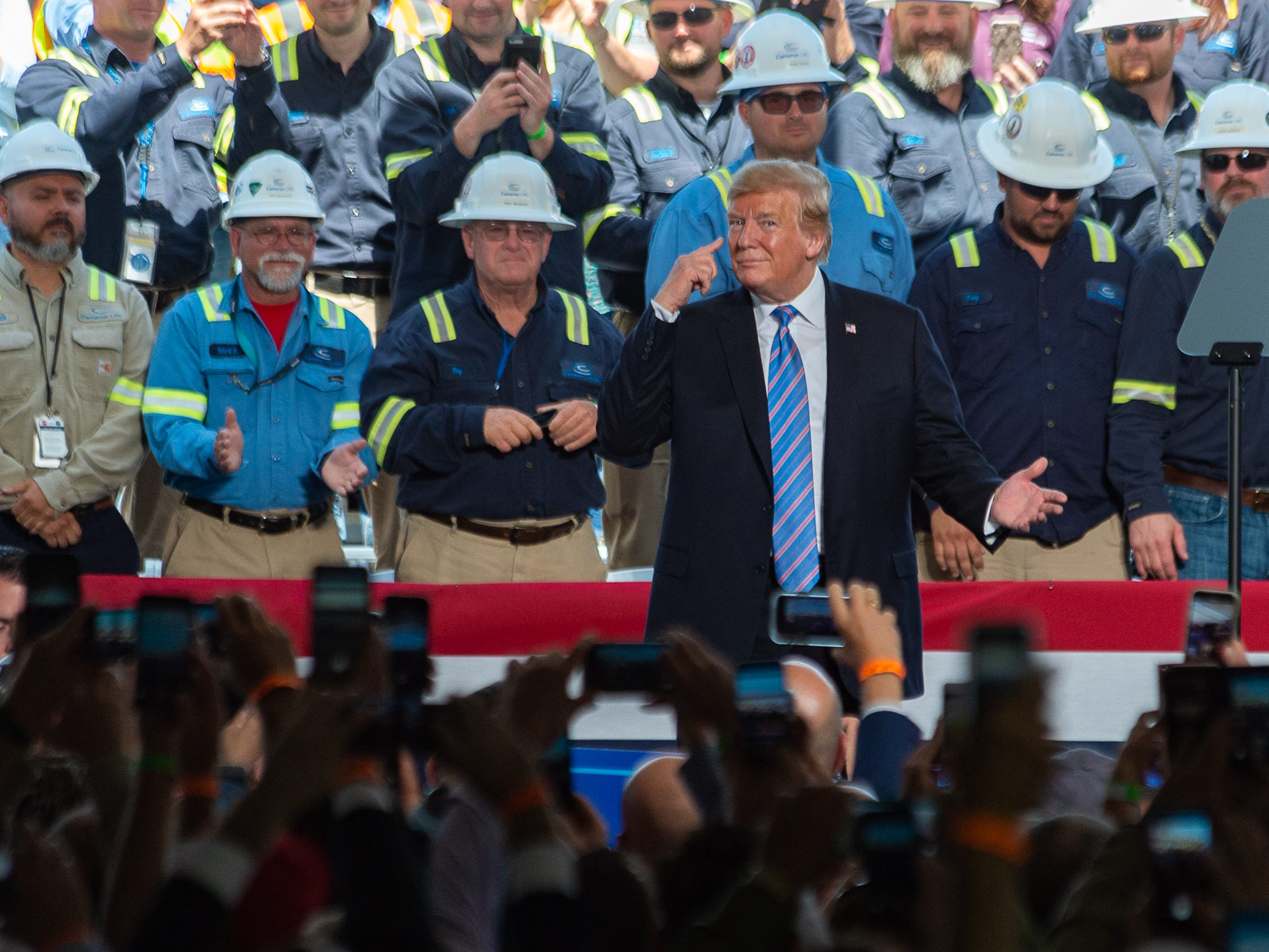 President Donald Trump speaking at Cameron LNG Export Terminal in Hackberry, LA. Tuesday, May 14, 2019.