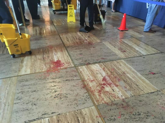 "Abortion rights advocates poured fake blood on the floors of Memorial Hall at the Louisiana state capitol Wednesday in protest of the ""fetal heartbeat"" bill that advanced out of House and Senate committees. The protests led to several arrests."