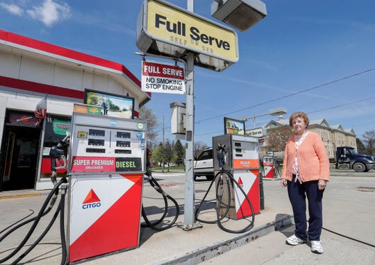Janice Swetlik stands near the full service gas pumps at Swetlik Citgo Service & Towing Wednesday, May 15, 2019, in Manitowoc, Wis. Her husband Junior Swetlik, who ran the station since 1963, passed away at the age of 82 in April. She hopes to sell the gas station this year. Joshua Clark/USA TODAY NETWORK-Wisconsin
