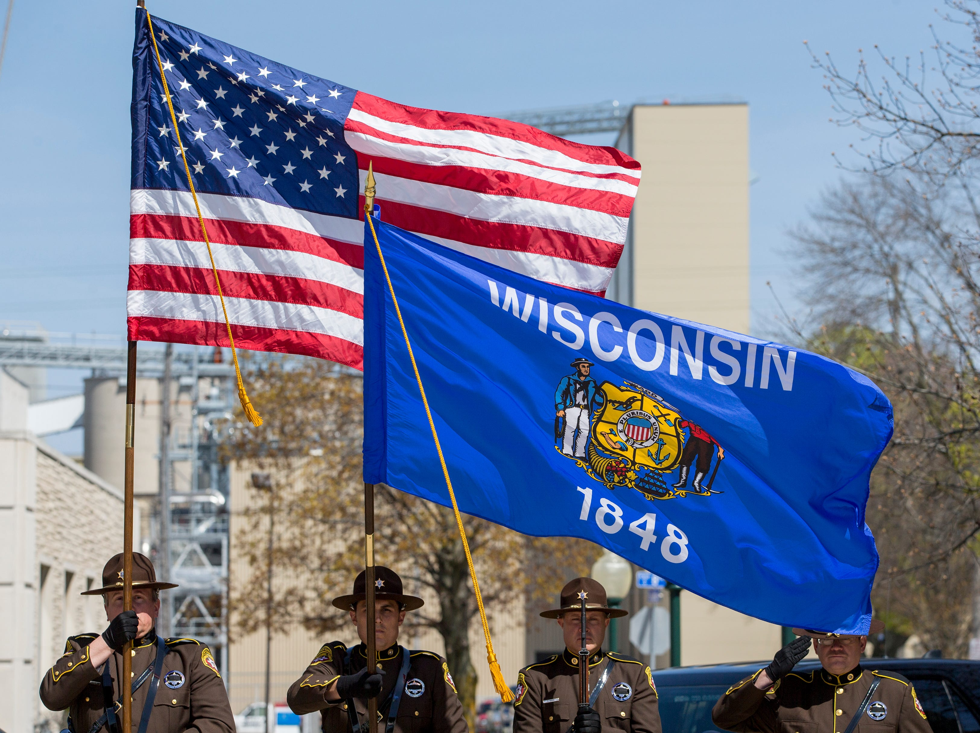 The Manitowoc County Sheriff's Office Honor Guard present the colors for the National anthem during the Manitowoc County Peace Officer Memorial Service Wednesday, May 15, 2019, in Manitowoc, Wis. Joshua Clark/USA TODAY NETWORK-Wisconsin