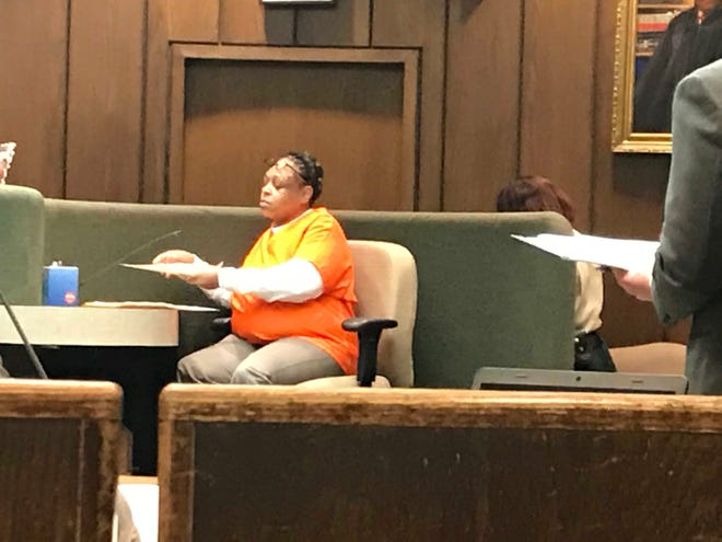 Nickole Macon reviews during her sentencing hearing the certificates earned while in jail awaiting trial. In 2017 Macon ran over her boyfriend, William Malone. She was found guilt of voluntary manslaughter.