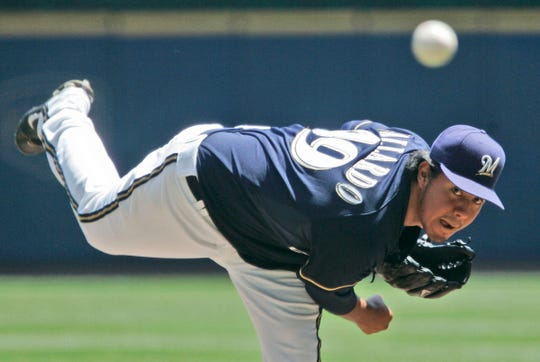 Milwaukee Brewers' Yovani Gallardo pitched 7 strong innings against the Kansas City Royals at Miller Park Sunday, June 24, 2007.