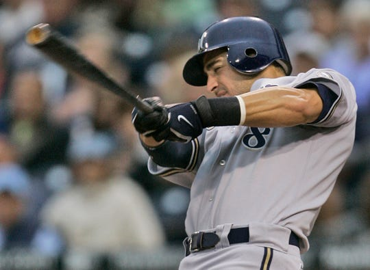 Milwaukee Brewers' Ryan Braun, making his first appearance in the major leagues, hits a deep fly to center on the first pitch from San Diego Padres starter Greg Maddux in the first inning of a baseball game in San Diego, Friday, May 25, 2007.  The ball was caught for an out.