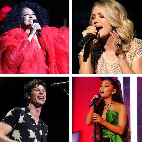 Top Milwaukee concerts for summer 2019 include (from top left) Diana Ross, Carrie Underwood, Ariana Grande and Shawn Mendes.