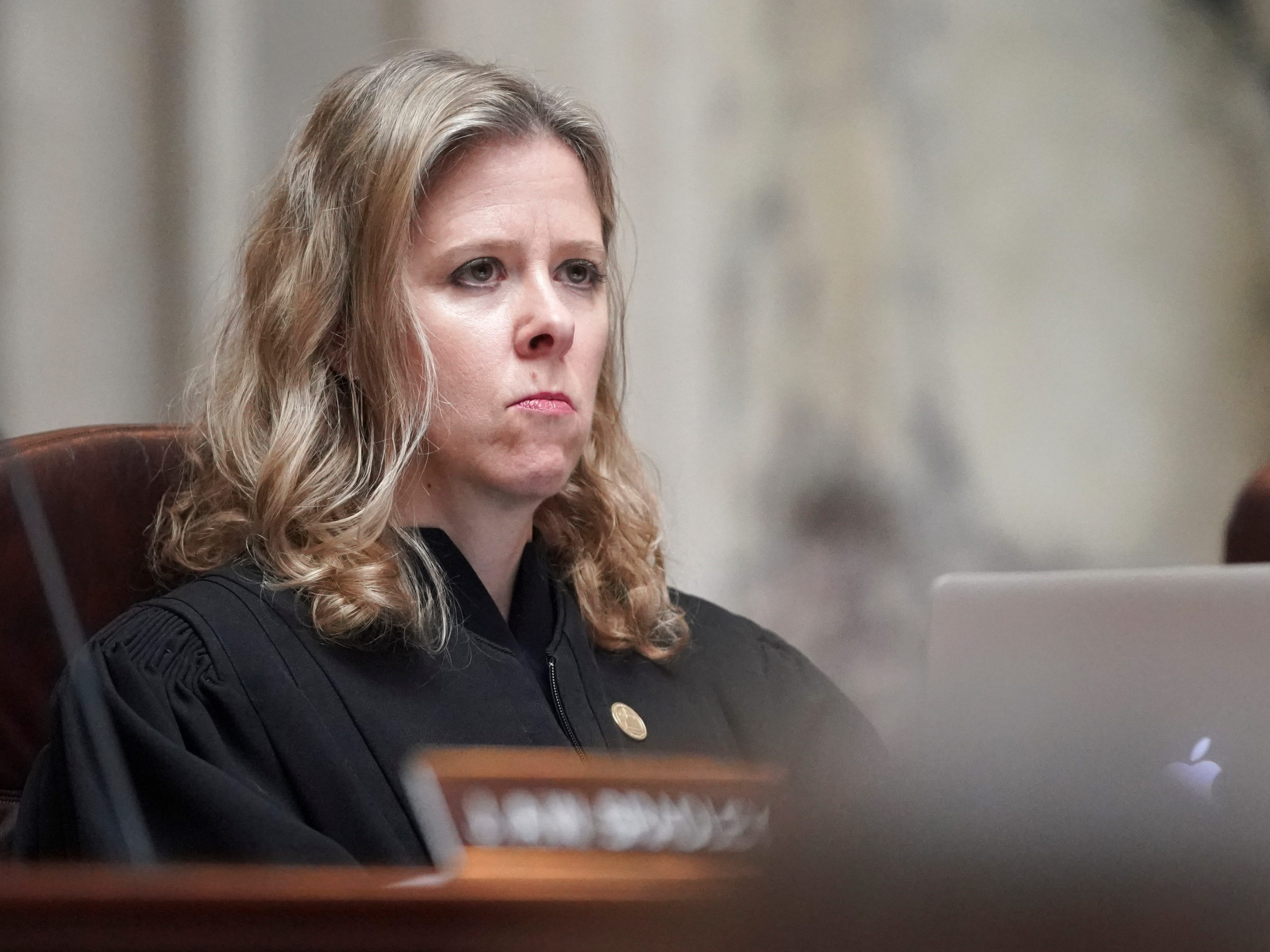 Justice Rebecca Bradley listens during the oral arguments.