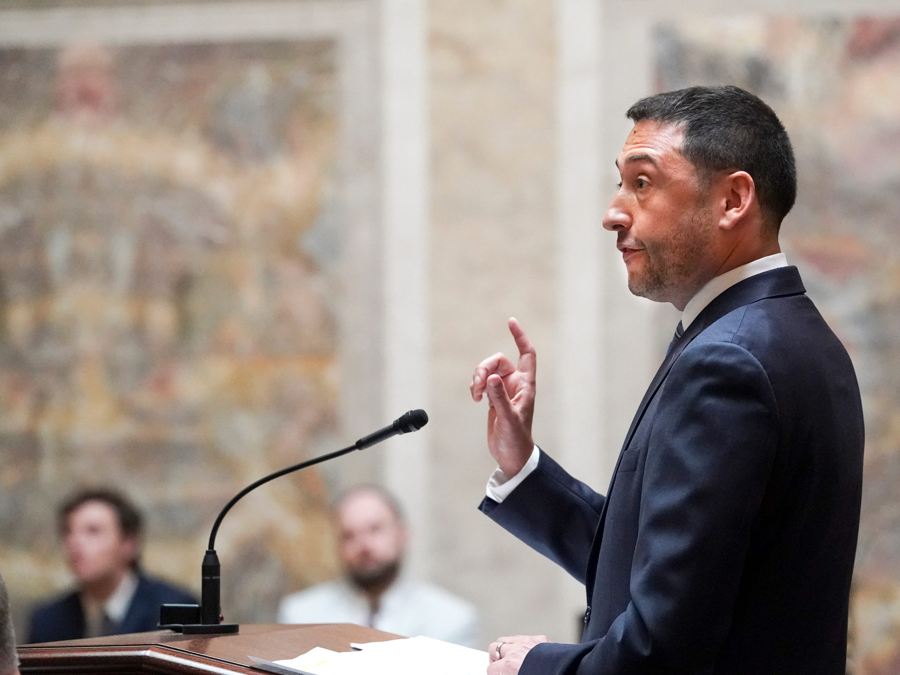 Republican legislators' attorney, Misha Tseytlin speaks during oral arguments.