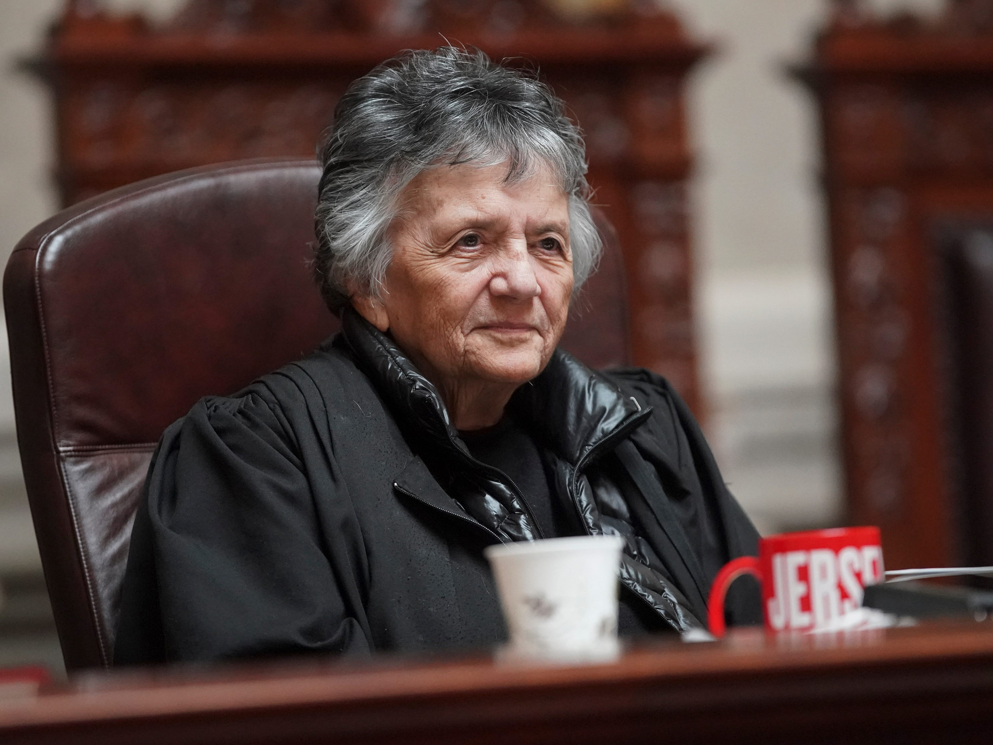 Wisconsin Supreme Court Justice Shirley Abrahamson is recognized by other justices after the conclusion of her last oral arguments at the Wisconsin State Capitol.