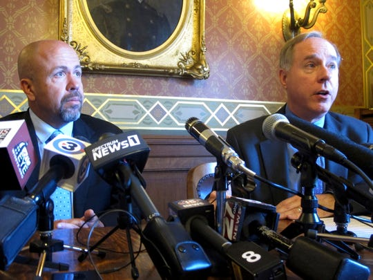 "Wisconsin Republican Majority Leader Jim Steinek (left), and Assembly Speaker Robin Vos, right, and  speak in support of a GOP ""born alive"" abortion bill in Madison."