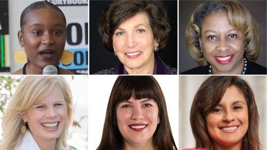 """Six women slated to speak at """"Women and Power"""" on June 11 are (clockwise from upper left): Bria Smith, Elizabeth (Betsy) Brenner, Joan Prince, Jessie Rodriguez, Amy Lindner and Mary Burke."""
