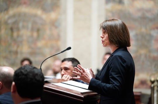 Tamara Packard, an attorney for Gov. Tony Evers, speaks during the oral arguments before the Wisconsin Supreme Court.