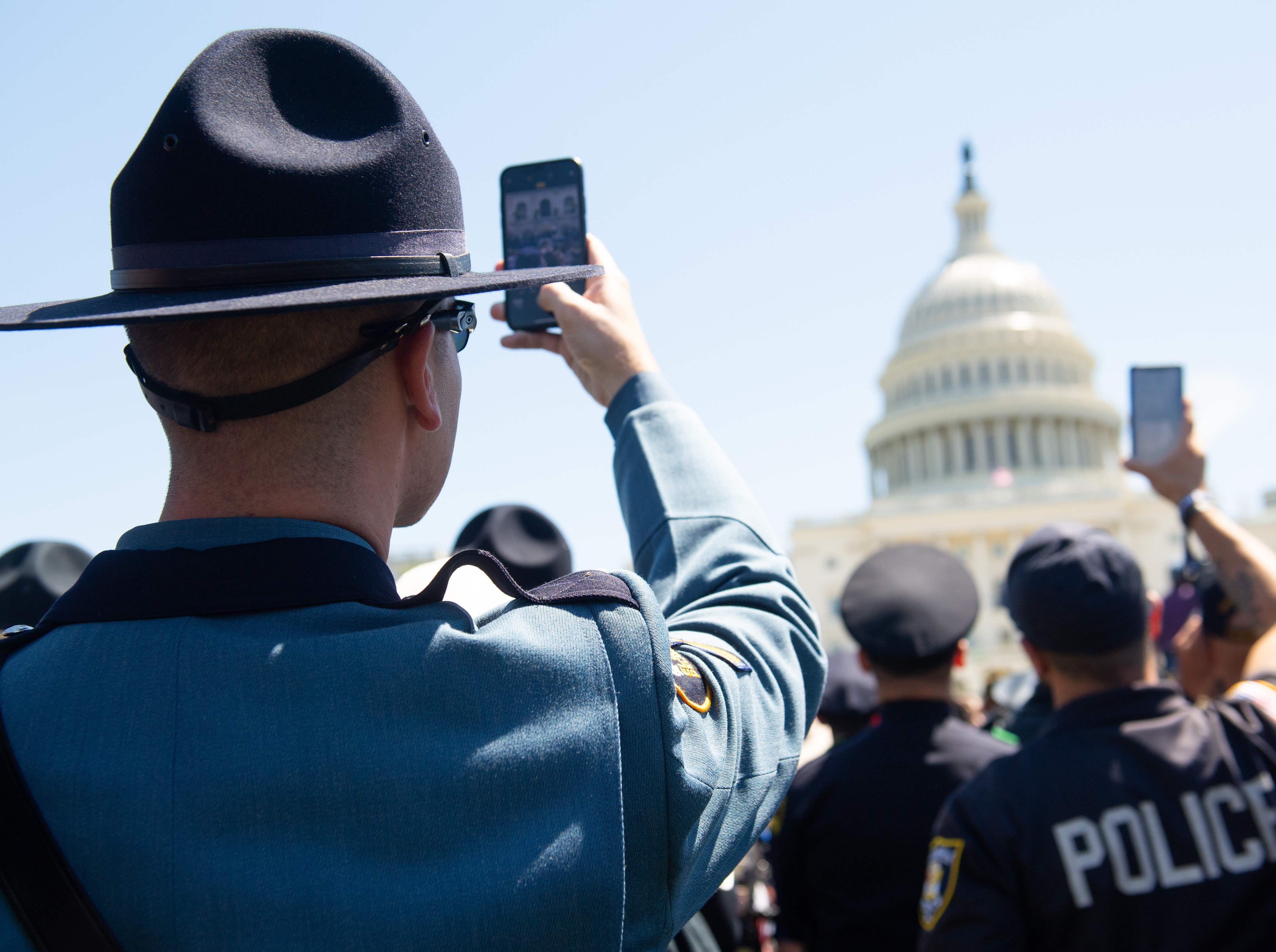 Members of police departments around the US attend the 38th Annual National Peace Officers' Memorial Service honoring law enforcement officers who were killed in the line of duty.