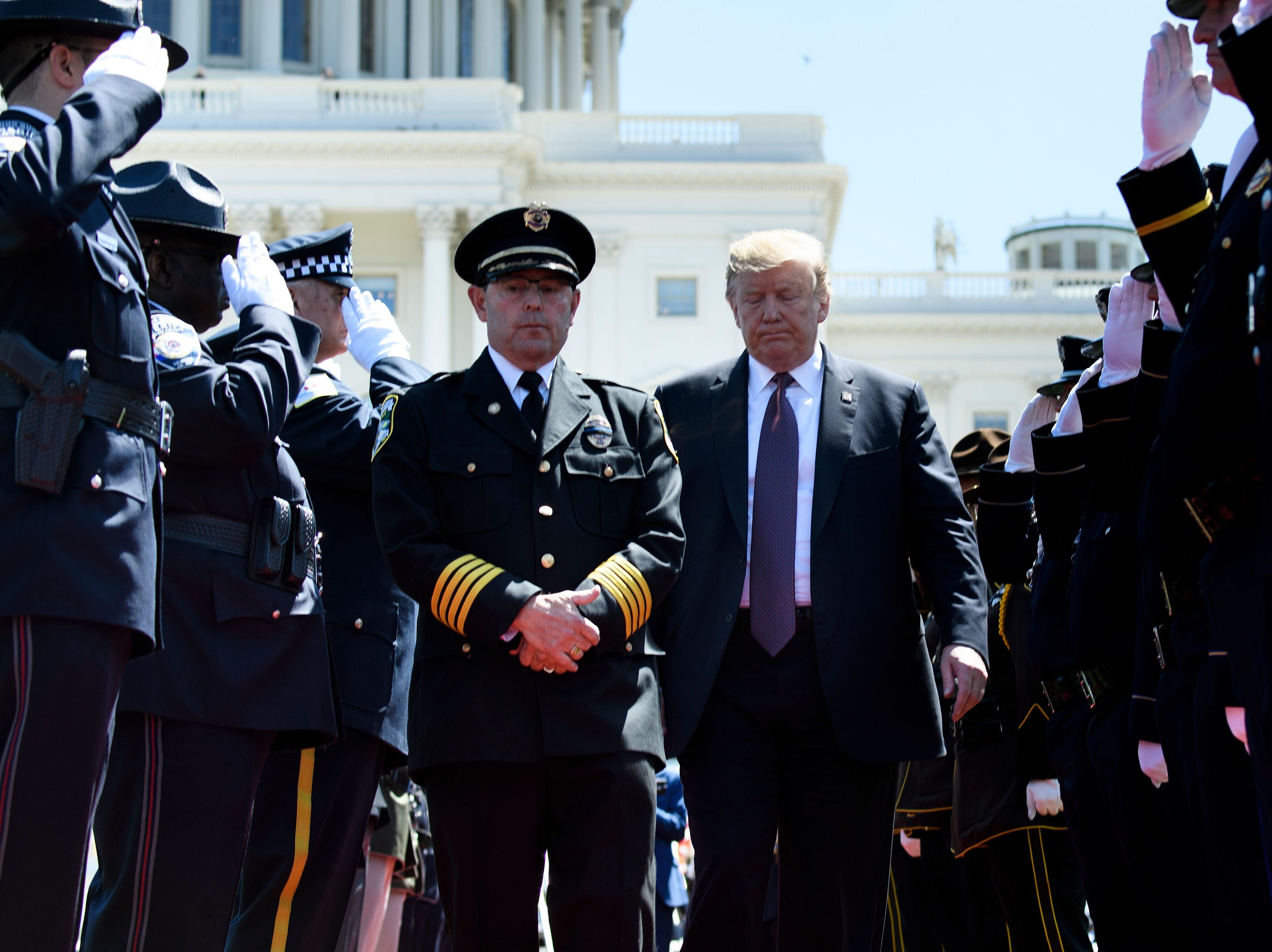 President Donald Trump arrives during the 38th Annual National Peace Officers Memorial Service on Capitol Hill