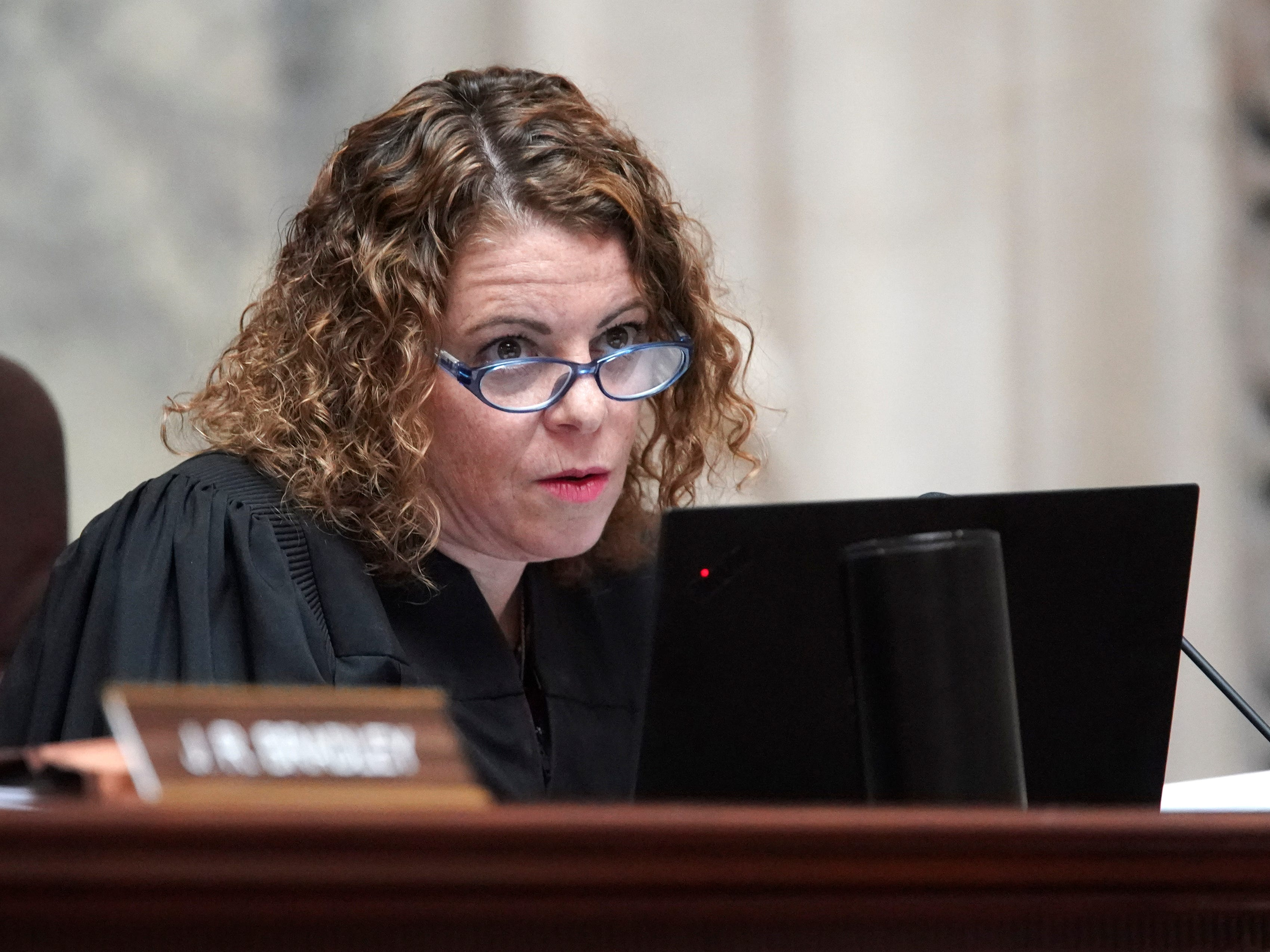 Wisconsin Supreme Court Justice Rebecca Dallet listens during oral arguments.