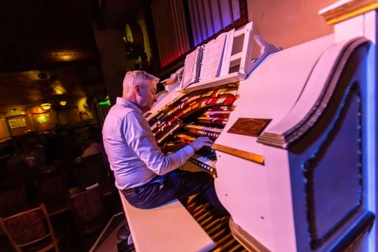 Organist Perry Petta plays the Mighty Wurlitzer theatre pipe organ for diners at Organ Piper Pizza on Tuesday, May 14, 2019. The popular restaurant features live pipe organ music nightly.