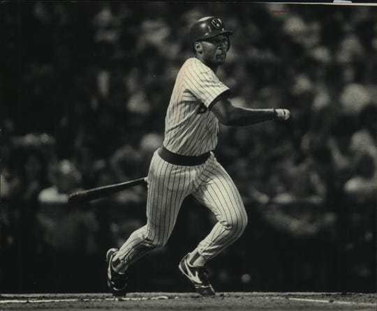 Gary Sheffield takes a swing for the Milwaukee Brewers in 1988.
