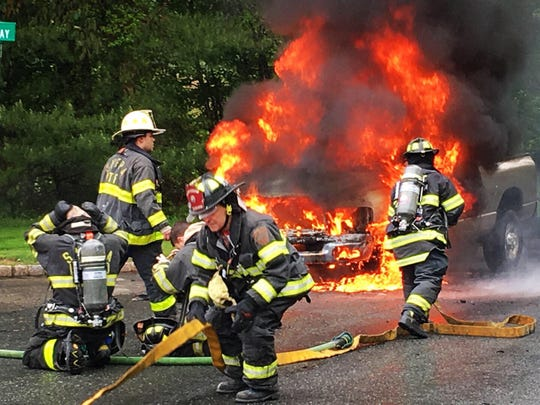 Washington Township (Morris County) fire departments responded to this truck fire at the corner of Ramsey Way and Pleasant Grove Road. There were no injuries. May 13, 2019