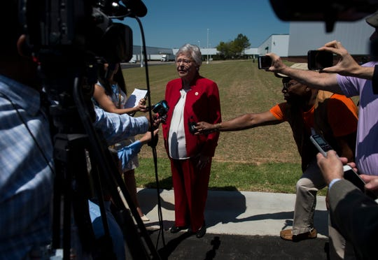 Gov. Kay Ivey speaks to the media following the new engine plant grand opening at the Hyundai plant in Montgomery, Ala., on Wednesday, May 15, 2019.
