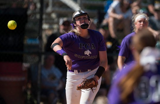 Prattville Christian's Landyn McAnnally (24) throws the ball toward first base during the Class 3A state tournament in Montgomery, Ala., on Wednesday, May 15, 2019. Wicksburg defeated Prattville Christian 5-3.