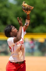 Luverne's Keyla Johnson catches a pop up against Leroy in the AHSAA Softball Championships at Lagoon Park in Montgomery, Ala., on Wednesday May 15, 2019.