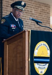 Montgomery Police Chief Ernest Finley speaks during the 2019 Police Memorial Day Service at the Montgomery Police Department in Montgomery, Ala., on Wednesday May 15, 2019.
