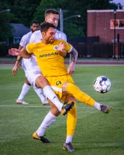 Nashville SC forward Cameron Lancaster tries to control the ball during Nashville's 3-2 win over South Georgia Tormenta FC 2 at MTSU's Dean A. Hayes Track & Soccer Stadium on May 14, 2019.